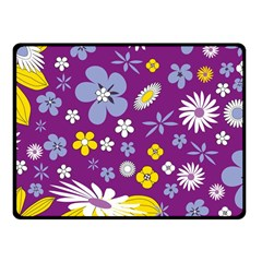 Floral Flowers Wallpaper Paper Fleece Blanket (small)