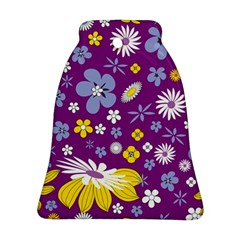 Floral Flowers Wallpaper Paper Bell Ornament (two Sides)