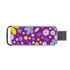Floral Flowers Wallpaper Paper Portable Usb Flash (one Side)