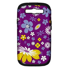 Floral Flowers Wallpaper Paper Samsung Galaxy S Iii Hardshell Case (pc+silicone)