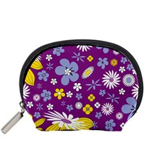 Floral Flowers Wallpaper Paper Accessory Pouches (small)