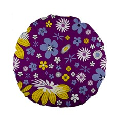 Floral Flowers Wallpaper Paper Standard 15  Premium Flano Round Cushions