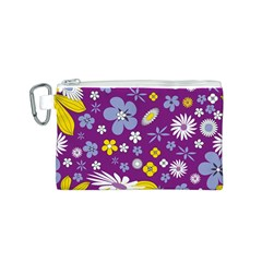 Floral Flowers Wallpaper Paper Canvas Cosmetic Bag (s)