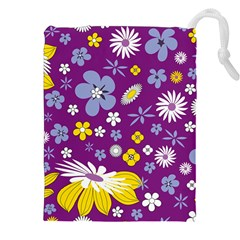 Floral Flowers Wallpaper Paper Drawstring Pouches (xxl)