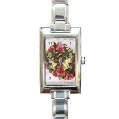 Vintage Butterfly Flower Rectangle Italian Charm Watch