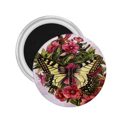 Vintage Butterfly Flower 2 25  Magnets