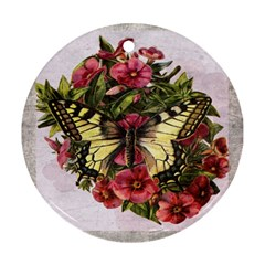 Vintage Butterfly Flower Ornament (round)