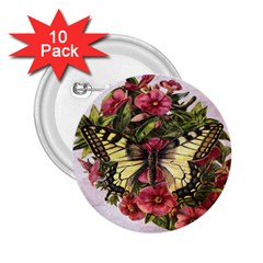 Vintage Butterfly Flower 2 25  Buttons (10 Pack)
