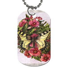 Vintage Butterfly Flower Dog Tag (one Side)
