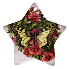 Vintage Butterfly Flower Star Ornament (two Sides)