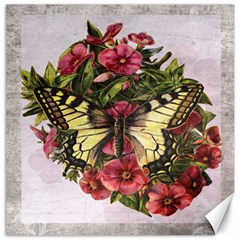 Vintage Butterfly Flower Canvas 12  X 12