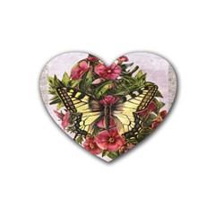 Vintage Butterfly Flower Rubber Coaster (heart)