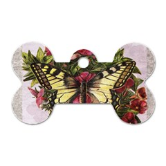 Vintage Butterfly Flower Dog Tag Bone (two Sides)