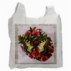Vintage Butterfly Flower Recycle Bag (two Side)