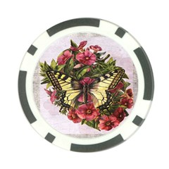 Vintage Butterfly Flower Poker Chip Card Guard (10 Pack)