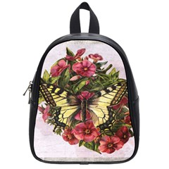 Vintage Butterfly Flower School Bag (small)