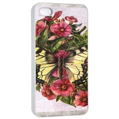 Vintage Butterfly Flower Apple Iphone 4/4s Seamless Case (white)