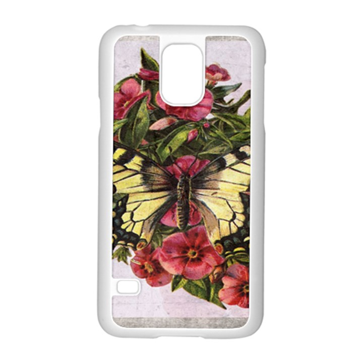 Vintage Butterfly Flower Samsung Galaxy S5 Case (White)