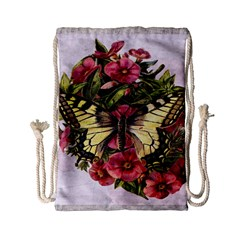 Vintage Butterfly Flower Drawstring Bag (small)