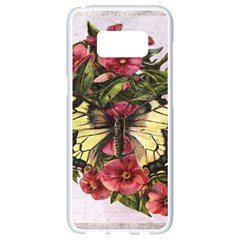 Vintage Butterfly Flower Samsung Galaxy S8 White Seamless Case