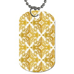 Gold Pattern Wallpaper Fleur Dog Tag (two Sides)