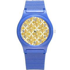 Gold Pattern Wallpaper Fleur Round Plastic Sport Watch (s)