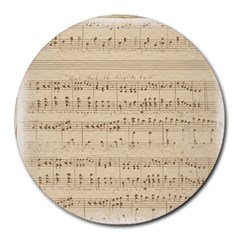 Vintage Beige Music Notes Round Mousepads