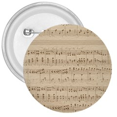 Vintage Beige Music Notes 3  Buttons