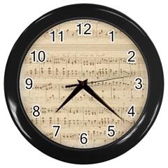 Vintage Beige Music Notes Wall Clocks (black)