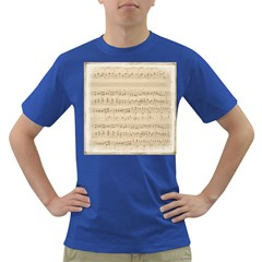 Vintage Beige Music Notes Dark T Shirt