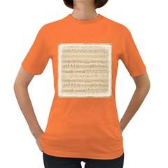 Vintage Beige Music Notes Women s Dark T Shirt
