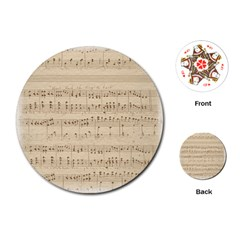 Vintage Beige Music Notes Playing Cards (round)