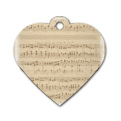 Vintage Beige Music Notes Dog Tag Heart (one Side)