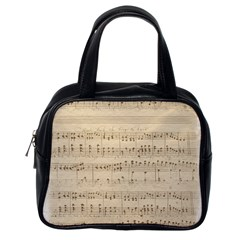 Vintage Beige Music Notes Classic Handbags (one Side)
