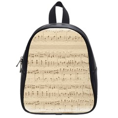 Vintage Beige Music Notes School Bag (small)
