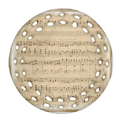 Vintage Beige Music Notes Round Filigree Ornament (two Sides)