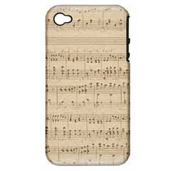 Vintage Beige Music Notes Apple Iphone 4/4s Hardshell Case (pc+silicone)