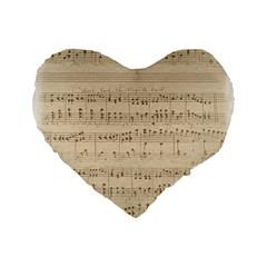Vintage Beige Music Notes Standard 16  Premium Heart Shape Cushions