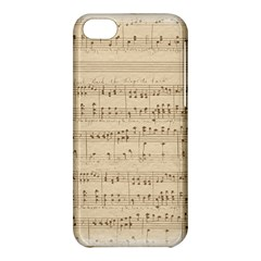 Vintage Beige Music Notes Apple Iphone 5c Hardshell Case