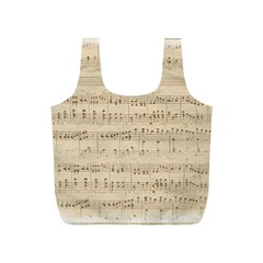Vintage Beige Music Notes Full Print Recycle Bags (s)