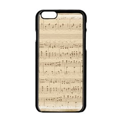 Vintage Beige Music Notes Apple Iphone 6/6s Black Enamel Case