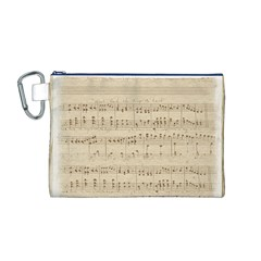 Vintage Beige Music Notes Canvas Cosmetic Bag (m)