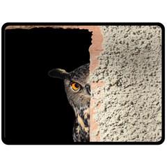 Owl Hiding Peeking Peeping Peek Double Sided Fleece Blanket (large)