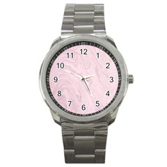 Marble Background Texture Pink Sport Metal Watch