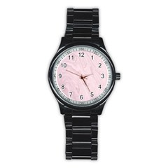 Marble Background Texture Pink Stainless Steel Round Watch
