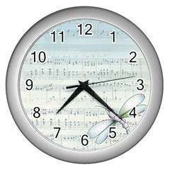 Vintage Blue Music Notes Wall Clocks (silver)