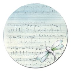 Vintage Blue Music Notes Magnet 5  (round)