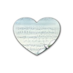 Vintage Blue Music Notes Rubber Coaster (heart)