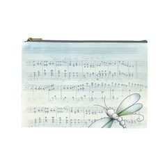 Vintage Blue Music Notes Cosmetic Bag (large)