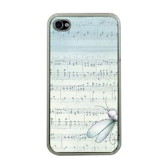 Vintage Blue Music Notes Apple Iphone 4 Case (clear)